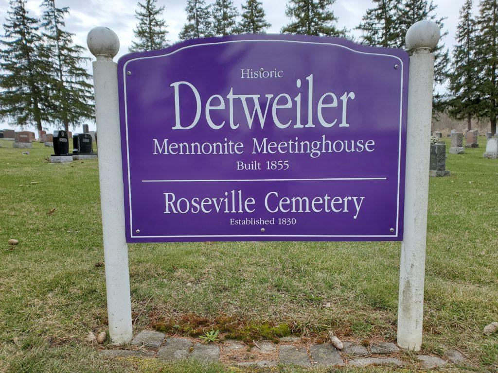 Roseville Mennonite Cemetery sign